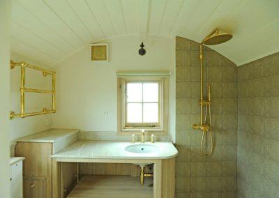 Modern shepherd hut shower room