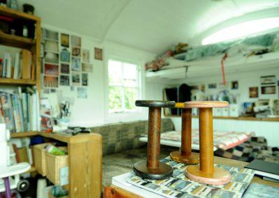 Olive grove shepherd hut interior Material room 27