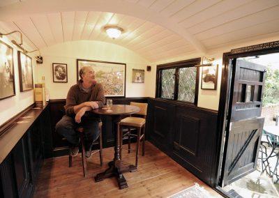 Pub shepherd hut interior