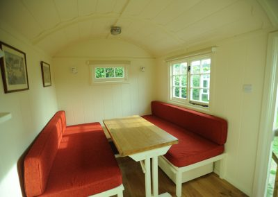 box seating and double bed