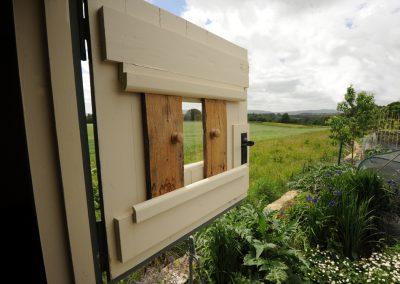 oak shutter Shepherd hut